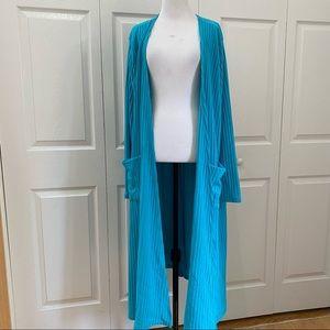 LuLaRoe SARAH Ribbed Turquoise Blue Sweater Duster